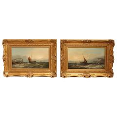 """Fishing Boats Going Out"" Pair of Oil Paintings by W.F.Williamson"