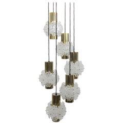 Mid Century Modern Vintage Brassed Chandelier with Lucite Flowers 1960s Austria