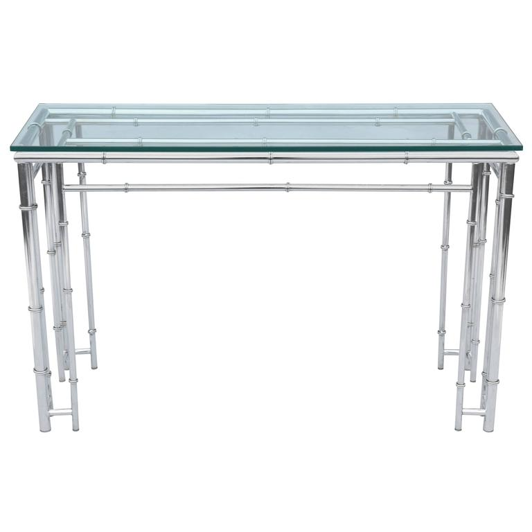 Faux Bamboo Sofa Table or Console, in Chrome