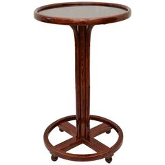 Polished Thonet Table with Black Glass