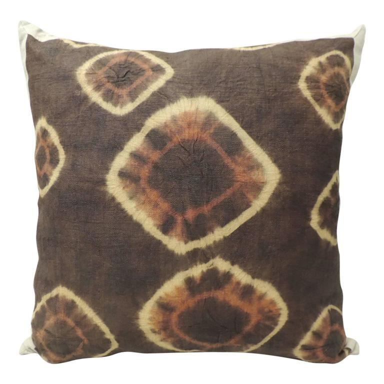 CLOSE OUT SALE: Tribal Brown and Orange Resist Dye African Decorative Pillow