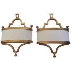 Pair of Contemporary Gilt Metal Sconces with Crepe Shades