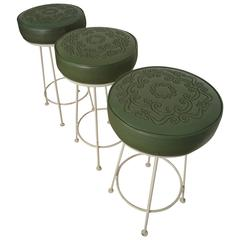 Three Midcentury Iron and Vinyl Barstools