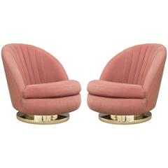 Pair of Milo Baughman for Thayer Coggin Tilt and Swivel Chairs