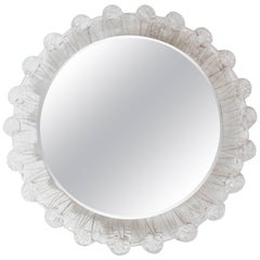 1970s Illuminated Round Mirror with Textured Lucite Frame
