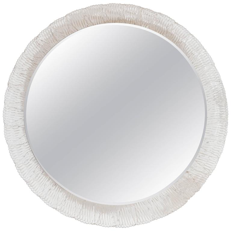 Round Illuminated Wall Mirror with Lucite Frame Attributed to Hillebrand