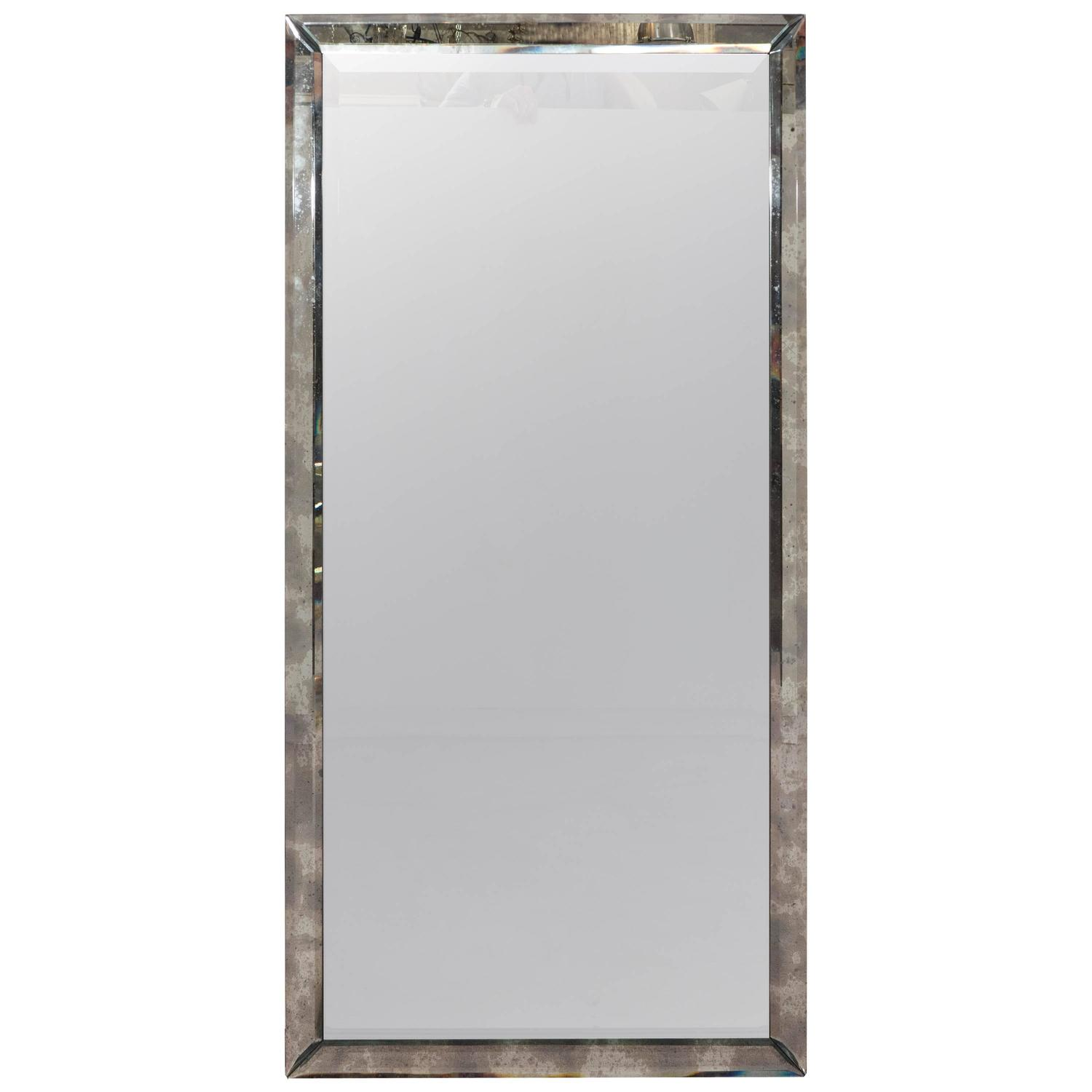 long rectangular wall mirror in beveled distressed glass ForLong Glass Mirror