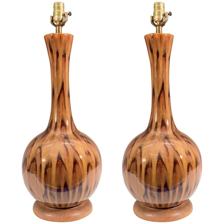 Pair of Gourd Table Lamps in Ceramic with Drip Glaze