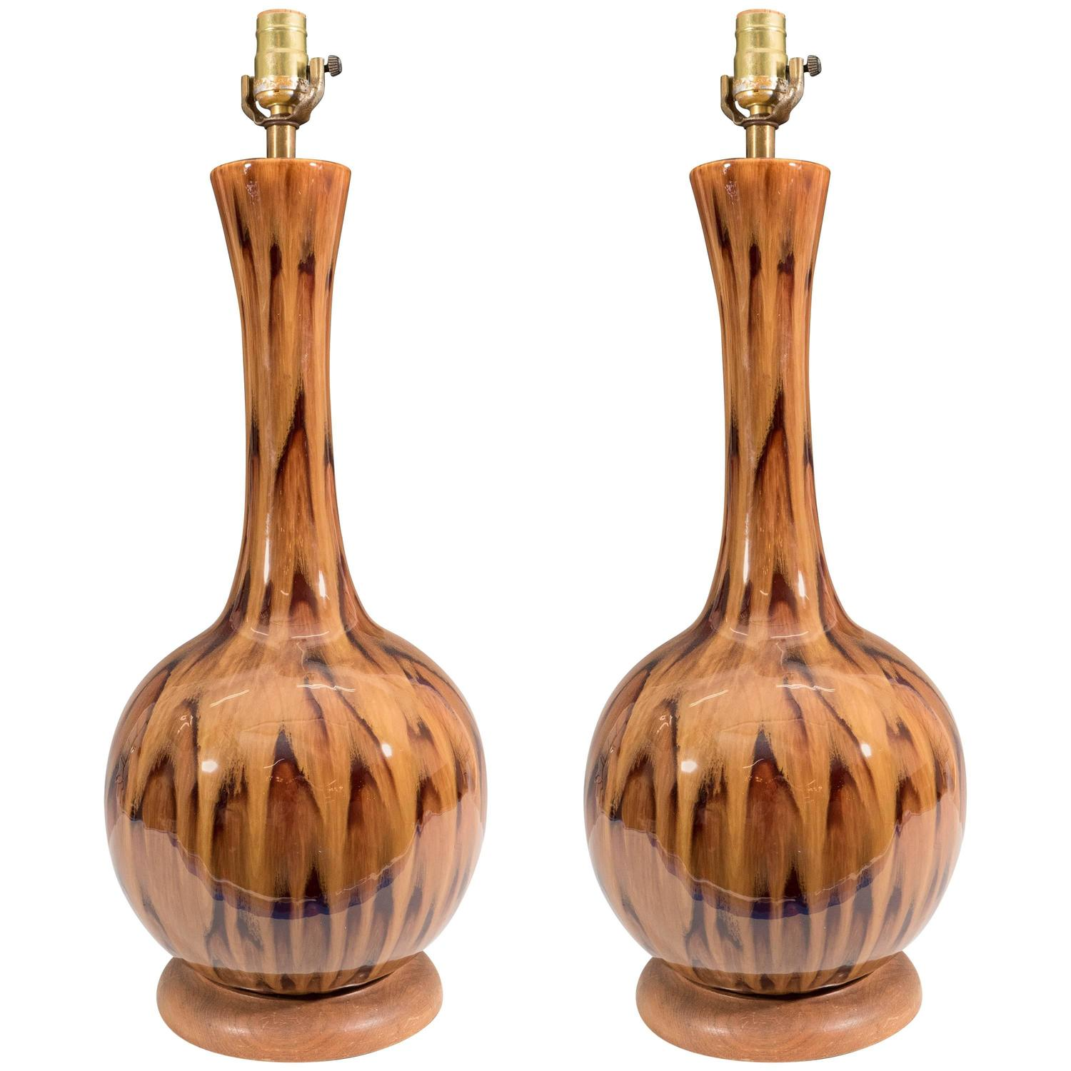 pair of gourd table lamps in ceramic with drip glaze for sale at. Black Bedroom Furniture Sets. Home Design Ideas