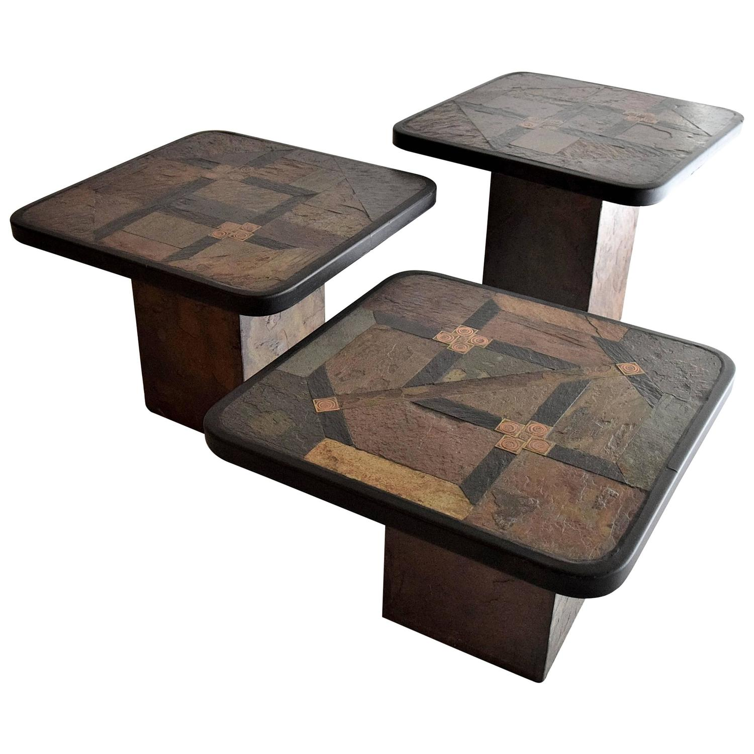 Set of three 1960s side coffee tables by paul kingma for for Side coffee table set