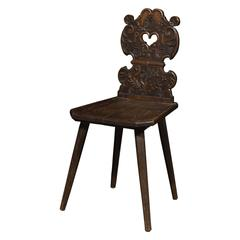Late Baroque Carved Black Forest Wood Chair, Dated 1791