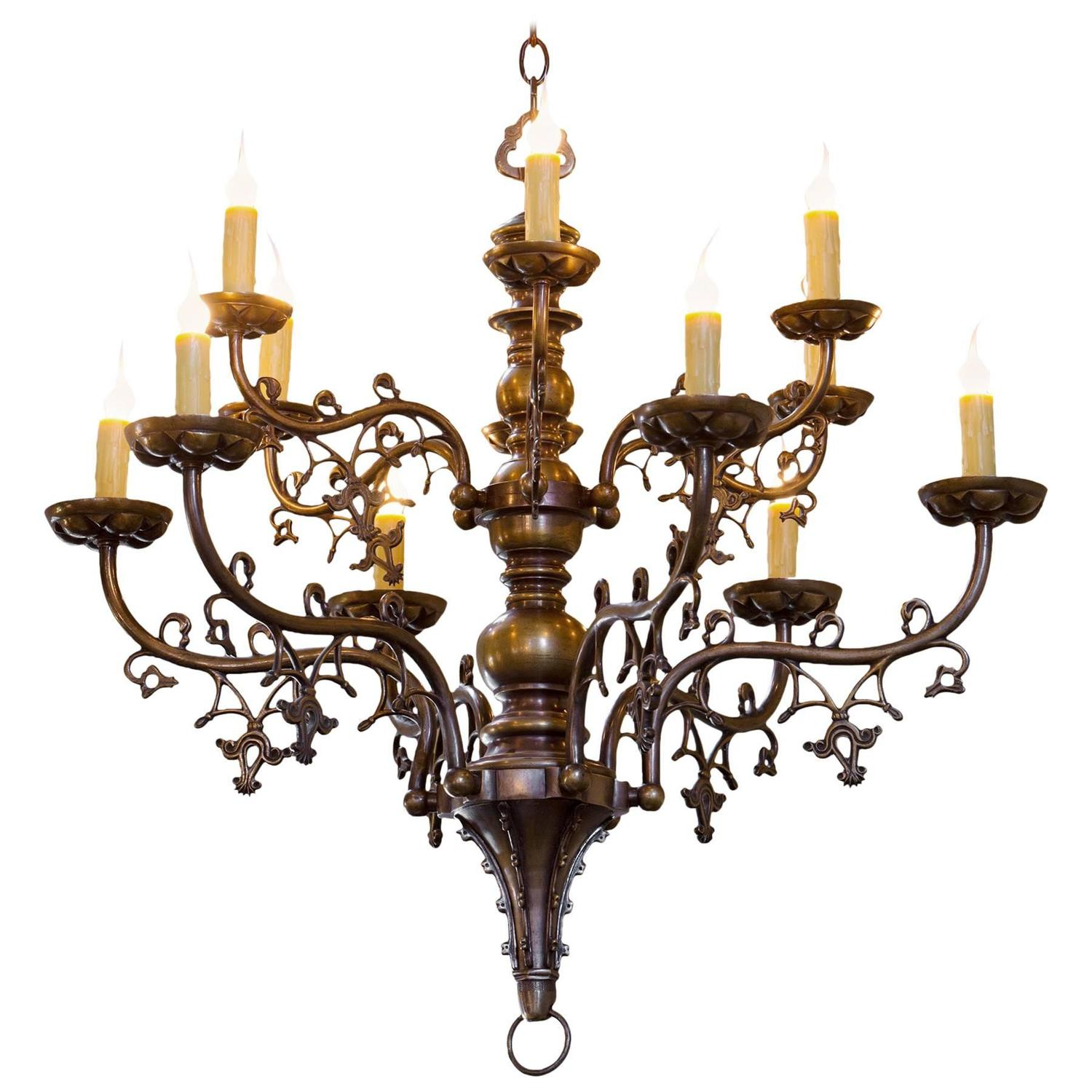 Antique Belgian Gothic Style Bronze Chandelier with Twelve Arms, circa 1900 - Gothic Revival Chandeliers And Pendants - 53 For Sale At 1stdibs