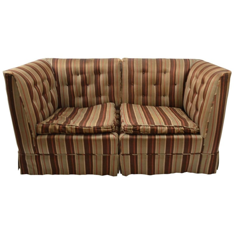 Diminutive Art Deco Sectional Loveseat, Needs Reupholstery For Sale