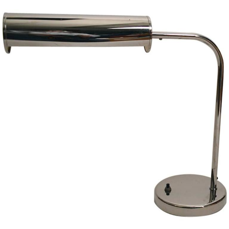 Chrome Desk Lamp with Adjustable Hood Shade
