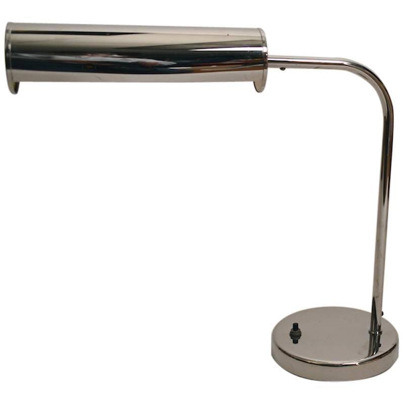 Chrome Desk Lamp with Adjustable Hood Shade