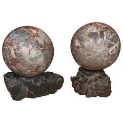 Early 20th Century, Monumental Size Pair of Marble Spheres