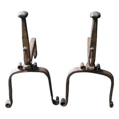 18th Century Wrought Iron Andirons, Firedogs