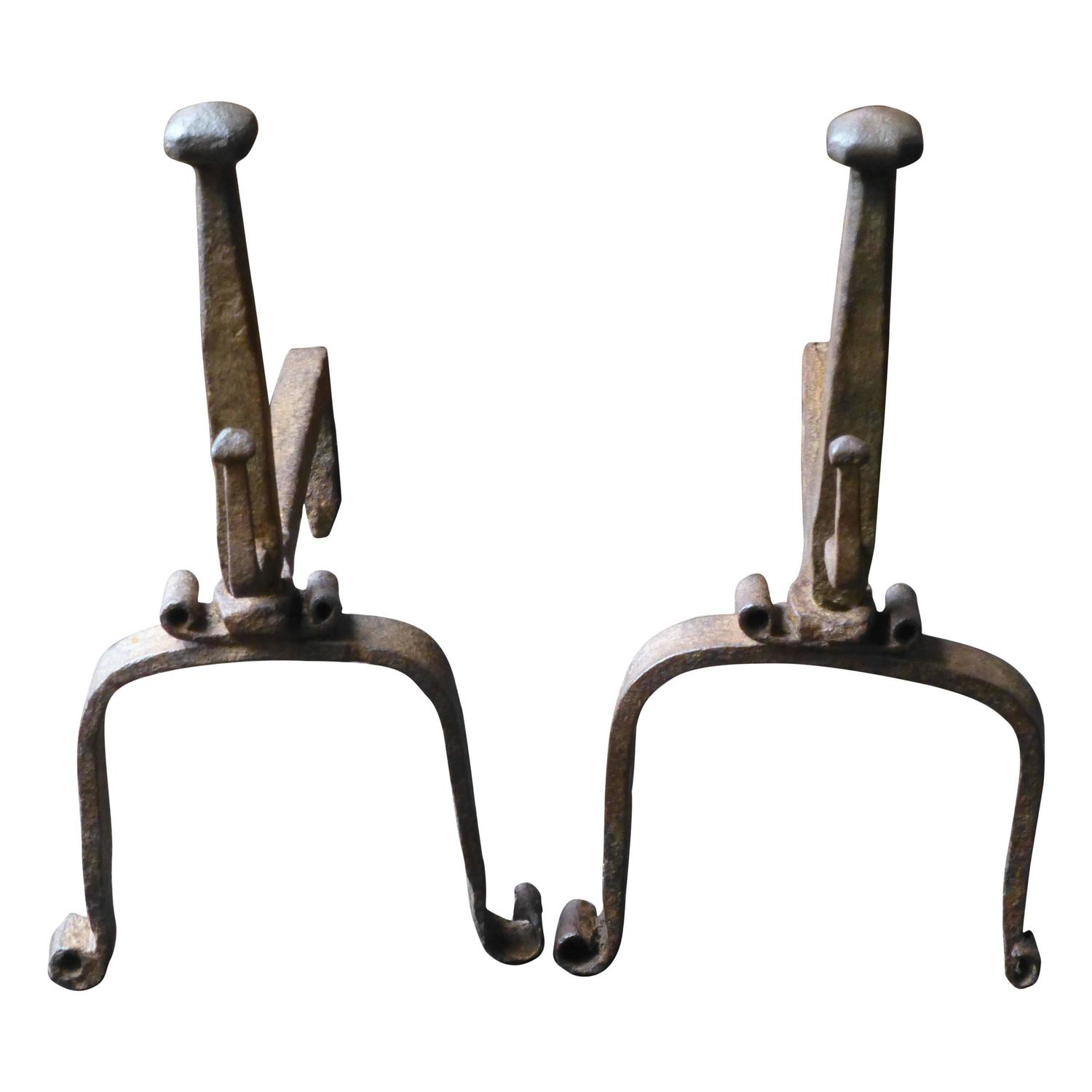early 1900s forged in fire wrought iron dragon andirons