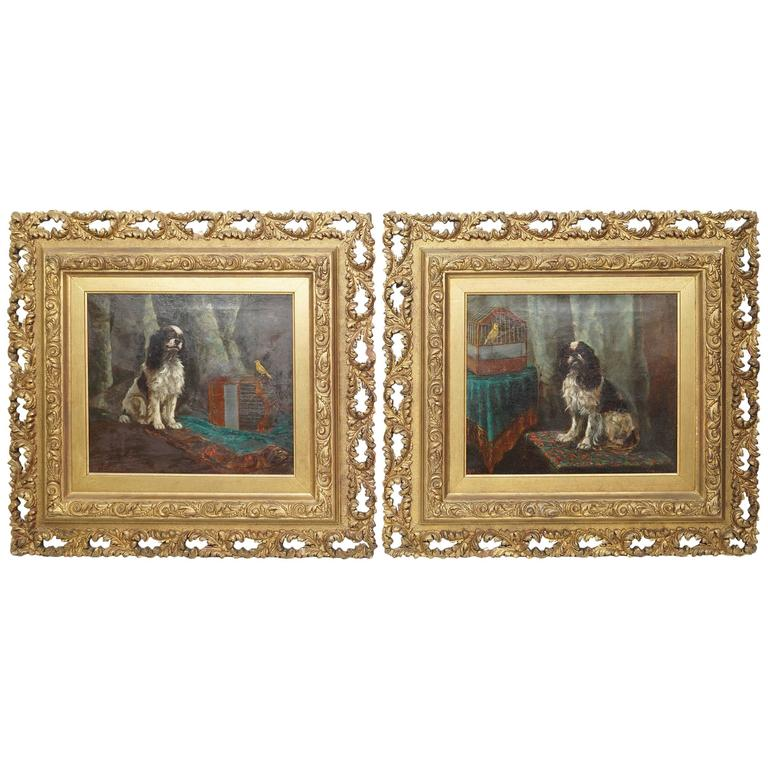 Sweet Pair of Painted Dog Paintings on Canvas with Canary in a Bird Cage