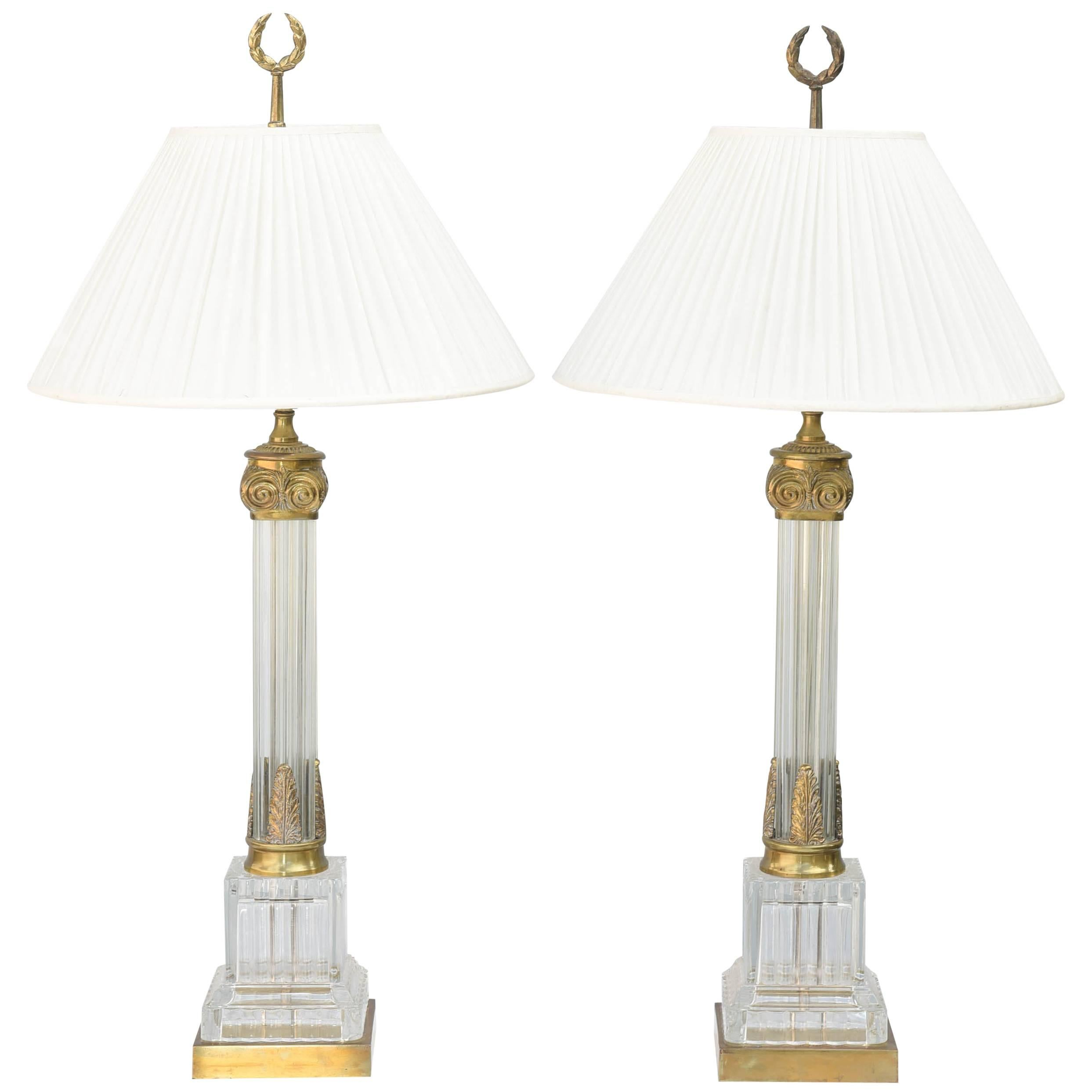 Pair of Fluted Glass Column Lamps