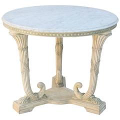 Round Italian Center Table with Carrara Marble Top on Painted Base