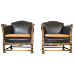 1920s Carved Swedish Lounge Chairs