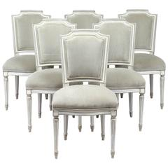 Antique Louis XVI Style Set of Six Dining Chairs