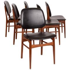 Set of Six Arne Vodder Danish Modern Dining Chairs in Teak