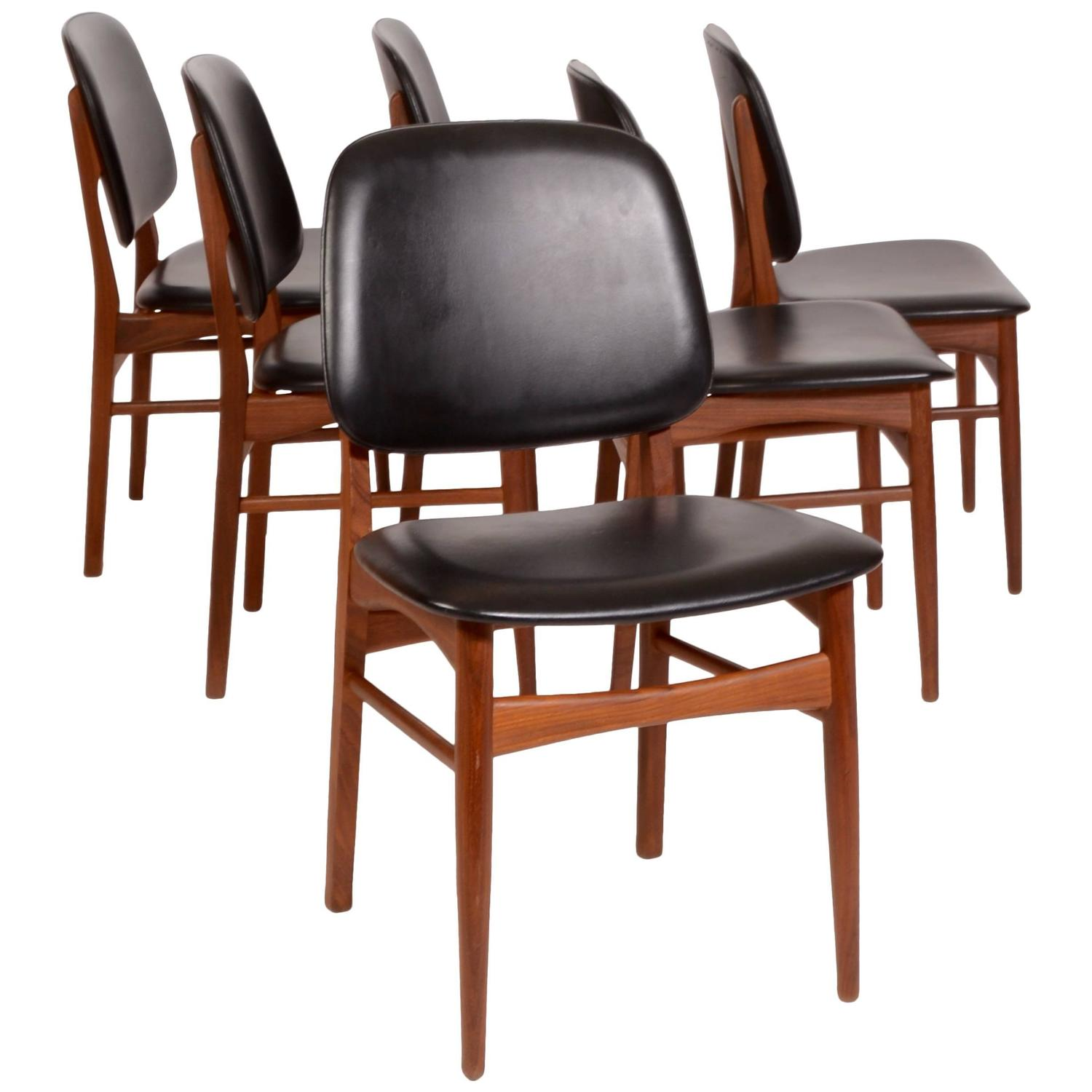 Set Of Six Arne Vodder Style Danish Modern Dining Chairs
