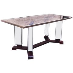 Jules Leleu Signed and Documented Mirrored Coffee Table