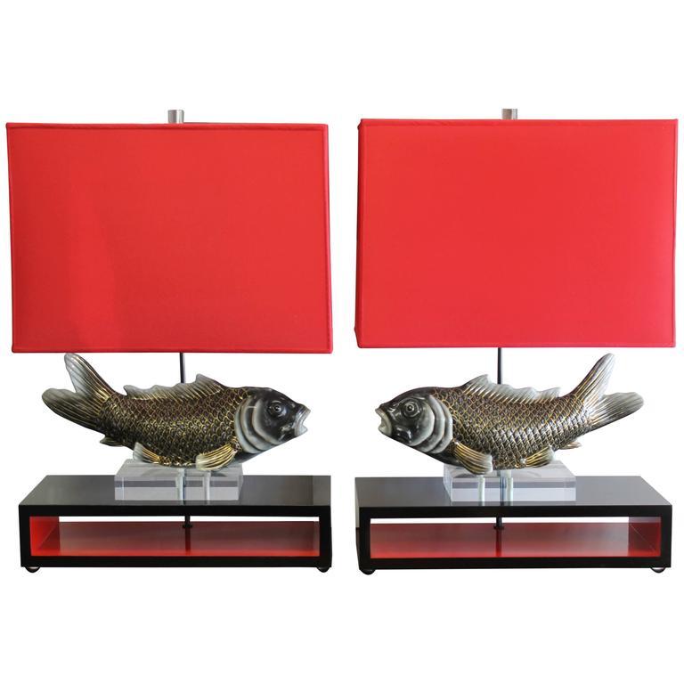 Studio designed koi fish lamps at 1stdibs for L fish furniture