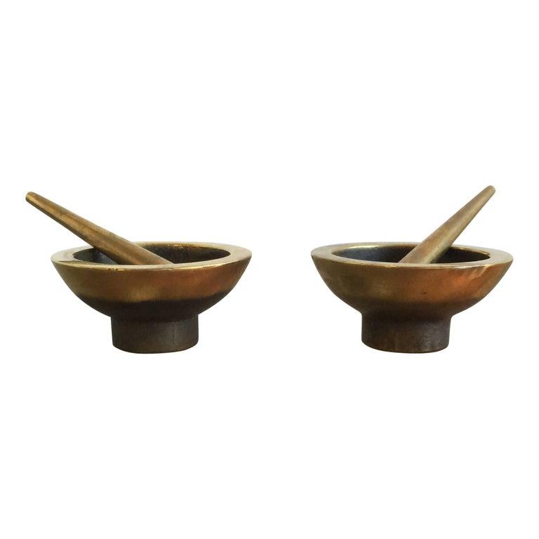 "Pair of Miniature Bronze ""salerons"" Mortars, France, 1960s For Sale"