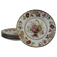 Set of Six English Mason's Ironstone Dinner Plates
