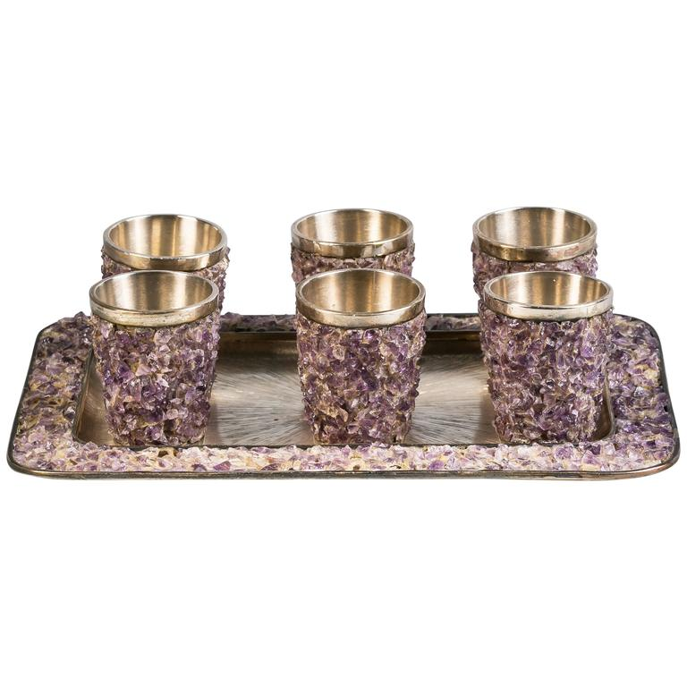 Set of Six Sterling Silver and Amethyst Quartz Shot Glasses and Tray For Sale