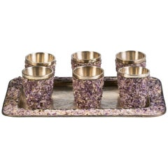 Set of Six Sterling Silver and Amethyst Quartz Shot Glasses and Tray