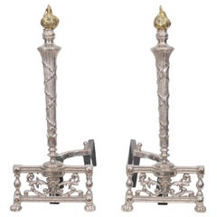 1940s Nickel Andirons with Brass Flame Finial