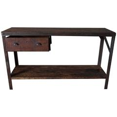 Industrial Workbench with Drawer 1950s