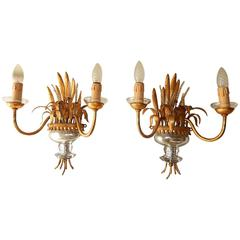 Maison Bagues Style Wheat Beaded Silver Gilt Sconces