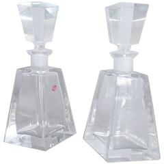 Pair of West German Crystal Glass Decanters