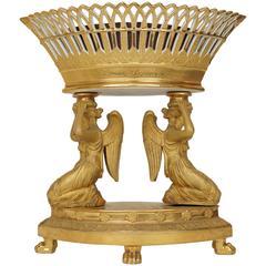 Gilt Paris Porcelain Figural Table Basket Form Oval Centerpiece