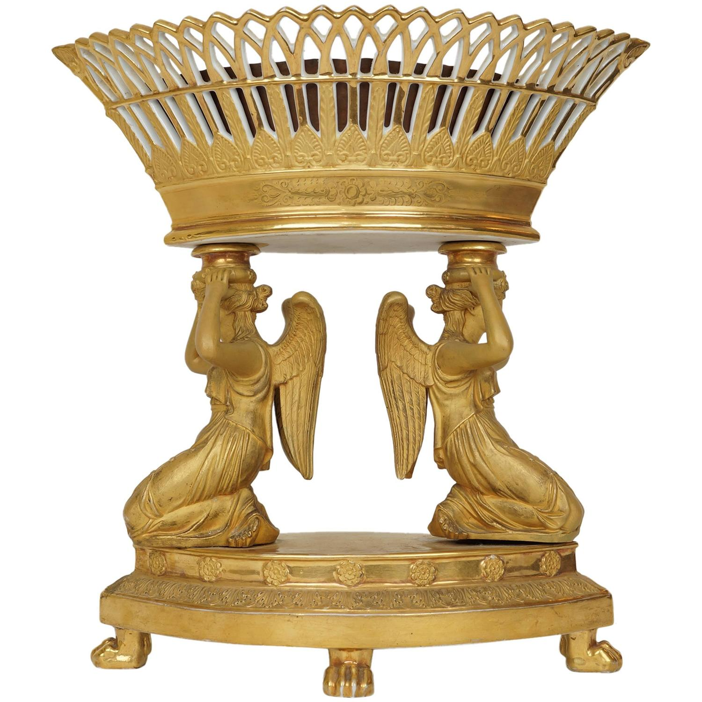 Gilt paris porcelain figural table basket form oval for Dining table centerpieces for sale