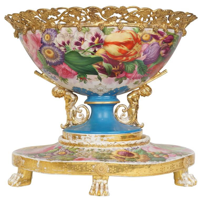 Russian of french painted porcelain table centerpiece with