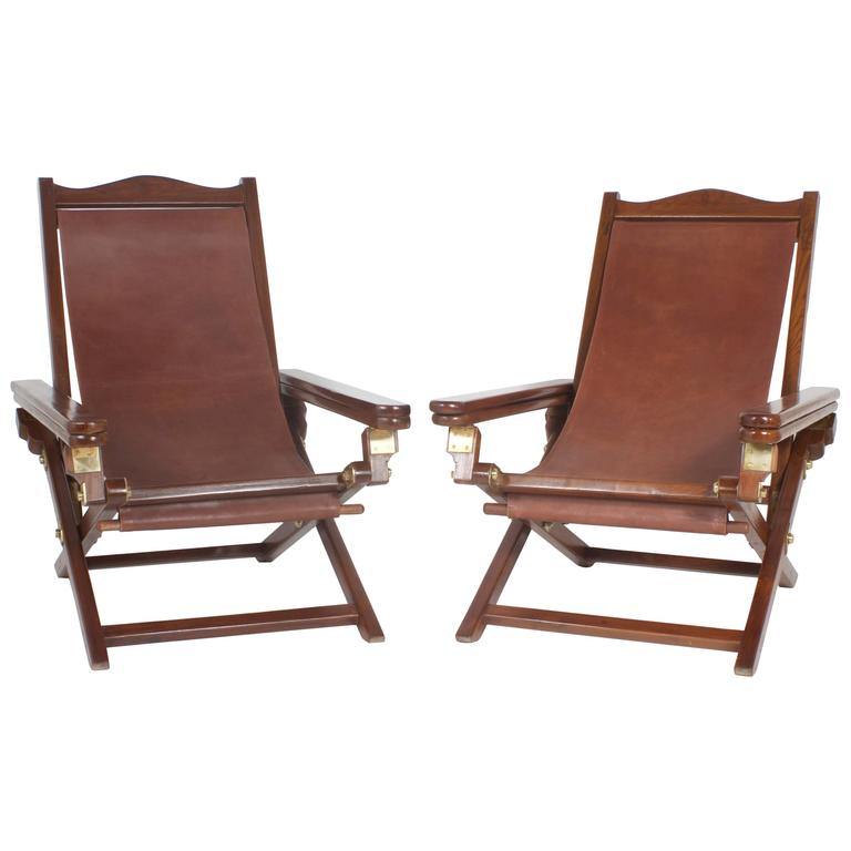 Exceptional Pair of Campaign Style Folding Chairs