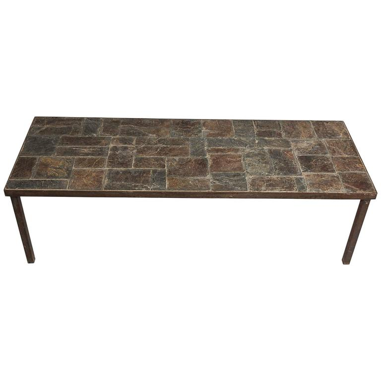 French 1950 Slate Coffee Table At 1stdibs