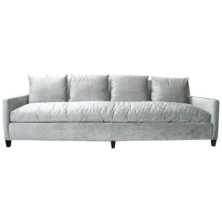 Long and luxurious sofa in silver antique velvet for sale for Long couches for sale