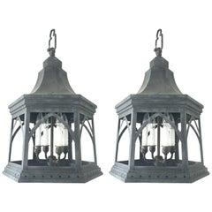 Regency-Style Chinoiserie Steel Lanterns