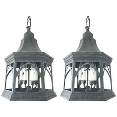 Pair of Regency-Style Chinoiserie Steel Lanterns