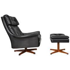 Ib Kofod-Larsen Leather Swivel Lounge Chair and Ottoman