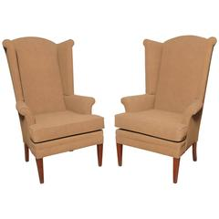 Pair of Tall, Narrow Mid Century Camel Highback Wingback Chairs
