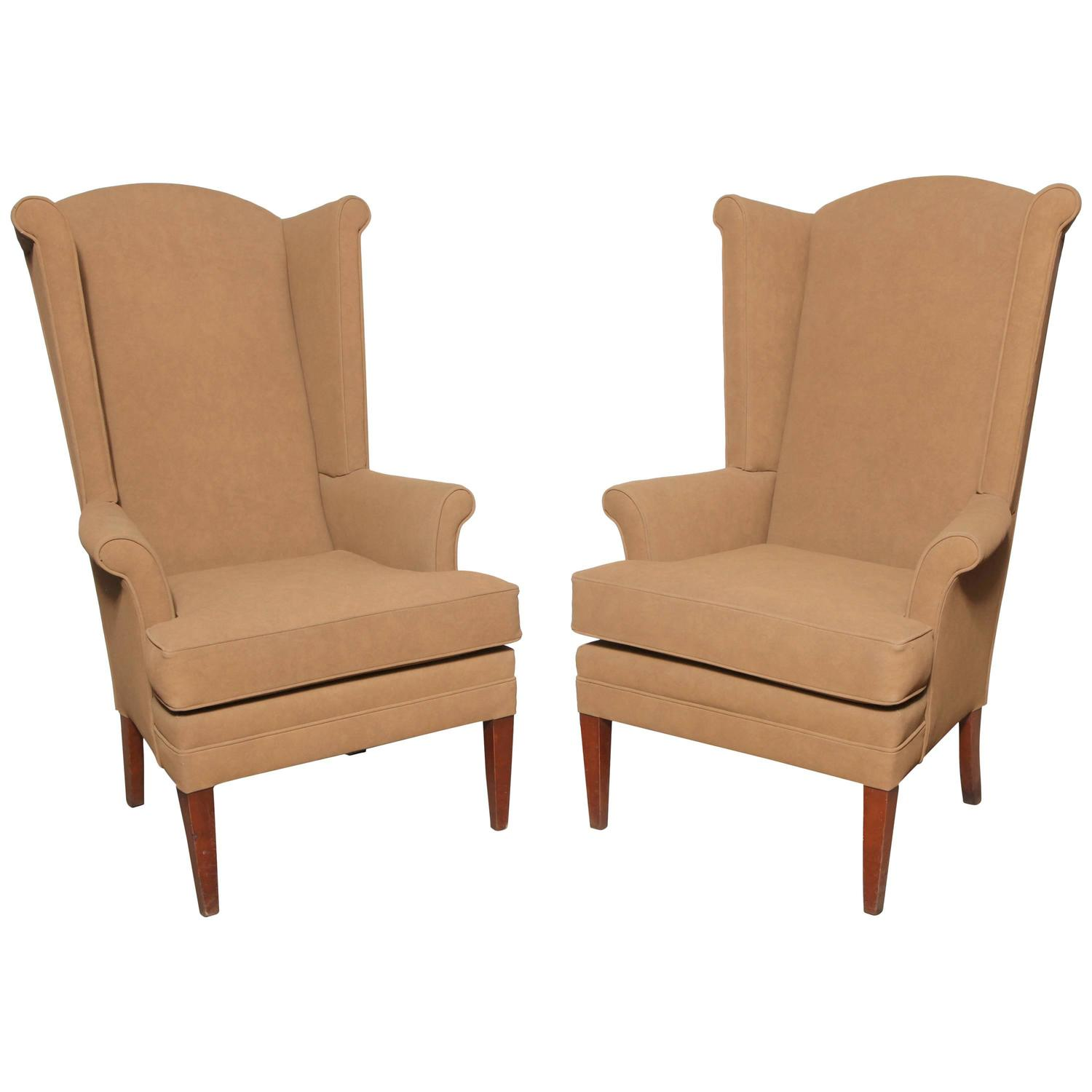 Pair Of Tall Narrow Mid Century Camel Highback Wingback